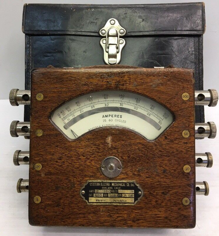 """RARE """"So.Ca.ELECTRIC"""" WESTERN ELECTRO MECHANICAL CO, 2-200 AMPERE METER -OAKLAND"""