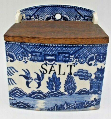 Vtg Wall Hanging Salt Box Cellar Japan Blue Transferware Porcelain Ceramic Farm