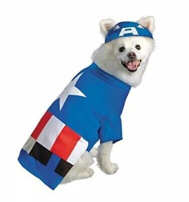Marvel Avengers Captain America Dog Pet Costume Sz Small S Halloween Super Hero ()