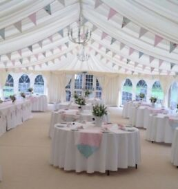 Wedding bunting and table runners for marquee