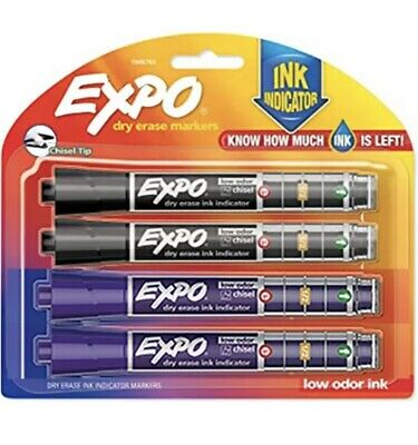 Expo Ink Indicator Dry Erase Markers Chisel Tip Black Purple Colors 4 Pack