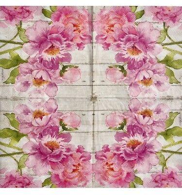 2 single Decoupage Cocktail Napkins Pink Peony Floral Blooms Shabby Chic](Pink Cocktail Napkins)