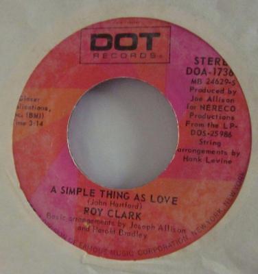 "Roy Clark(7"" Vinyl)I'd Fight The World-Dot Records-DLP 25895-US-VG/NM"