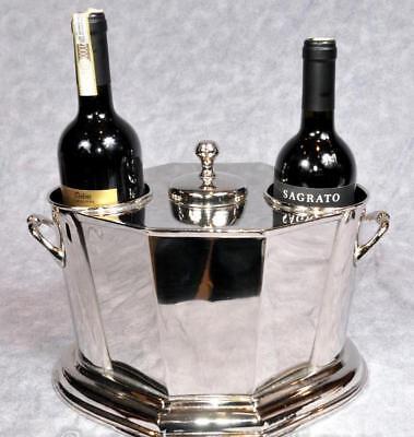 Wine Cooler ~ Wine Bucket ~ Ice Bucket Holds 4 Bottles Nickel Plate Octagonal