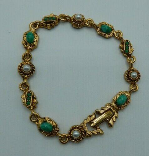 """Vintage Signed LJM Bracelet w/ Faux Cabochon Turquoise & Pearl Gold Tone 7.5"""""""