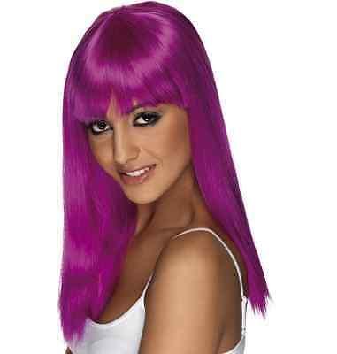 Womens Girls Neon Purple Glamourama Wig Long Straight Fringe Katy Perry Colour - Purple Katy Perry Wig