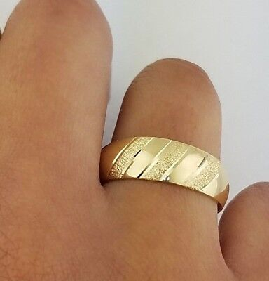 Men's Wedding Band Ring 14k Solid Yellow Gold 6mm Tapered  - Gold Tapered Ring