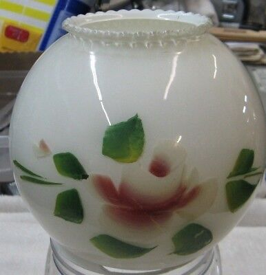 Vintage Round Frosted Glass Ruffled Top Globe Hand Painted Rose Converted