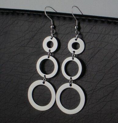 Damen Edelstahl Ohrringe Ohrhänger Offene Kreise Farbe Silber 1800 (Offene Kreis Ohrringe)