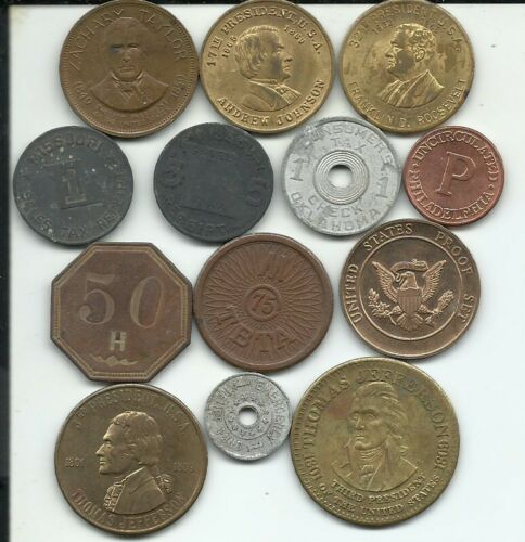 13pc. Lot of Miscellanous Tokens