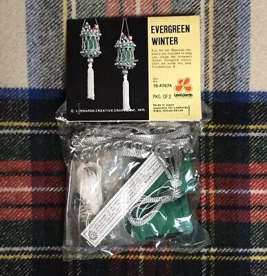 VTG 1970s Lee Wards Beaded Sequin Christmas Ornament Craft Kit Evergreen Winter ()