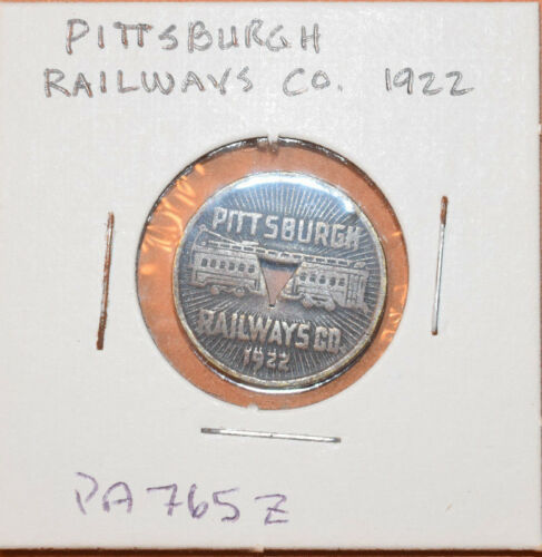 Vintage 1922 Pittsburgh Railways Co. PA Good For One Fare Transit Token