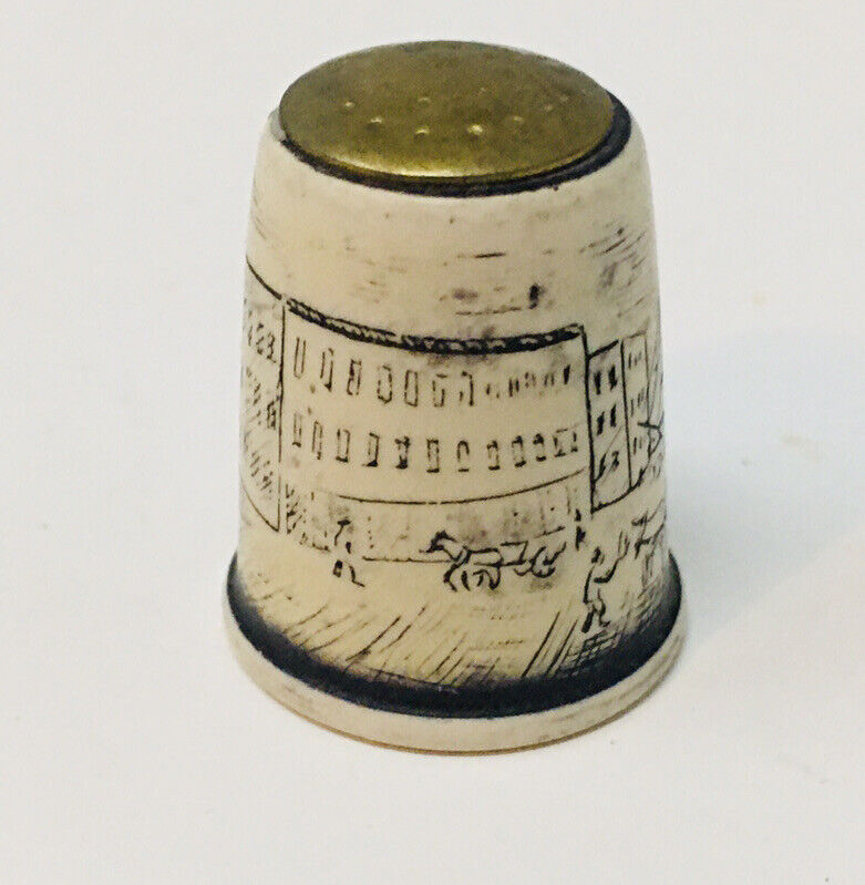 Vintage Nautical Ship Horse Buggy Thimble Brass Ceramic Collectible Sewing