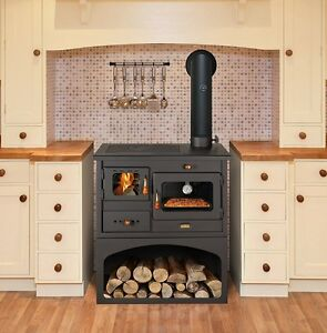 New 10 kW.Cooking Wood Burning Stove Oven Cast Iron Top Multi Fuel Cooker