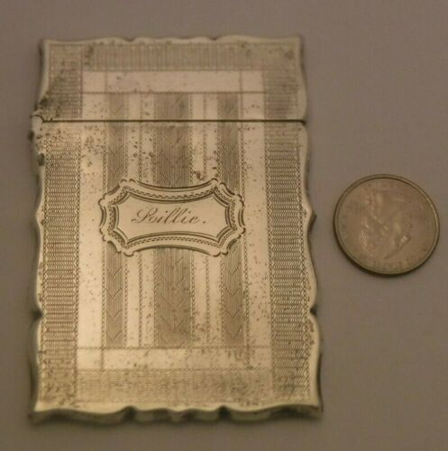 "Antique American Coin Silver Card Case 3.5"" by 2.5"" Engraved Lillie circa 1860"