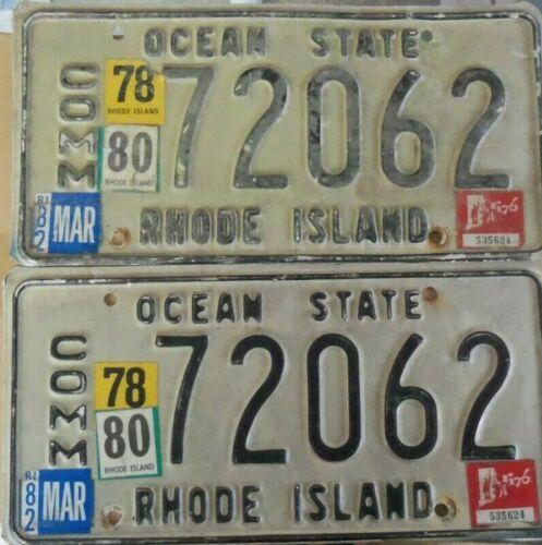 1978 /1980/82 RHODE ISLAND COMM~ PAIR 72062~OCEAN STATE~LICENSE PLATE~TAGS