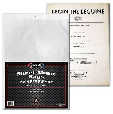 Sheet Music Display - (100) BCW Sheet Music Bags w/ Flap For Closure - Protection, Display and Storage