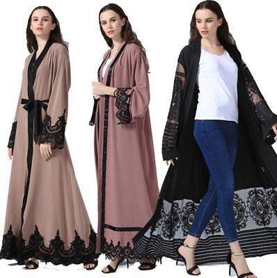 Dubai Muslim Abaya Lace Women Open Front Cardigan Embroidery Islamic Maxi Dress
