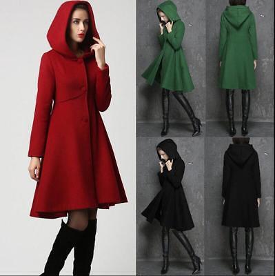 Women Winter Hooded Trench Coat Blends Long Jacket Outwear Parka Overcoat ()