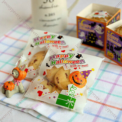 halloween trick or treat cello cellophane cookie Peel N seal candy bags gift (Halloween Gift Bags)