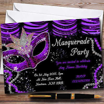 Purple & Black Mask Masquerade Ball Personalised Party