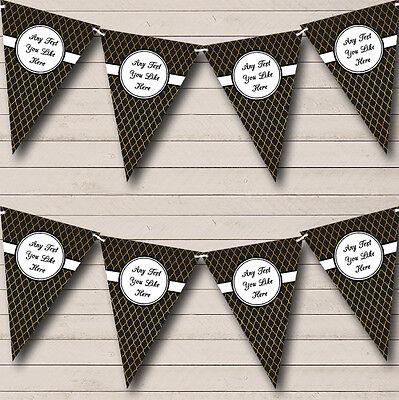 Black And Gold Wave Pattern Personalised Retirement Party Bunting Banner Garland - Black And Gold Garland