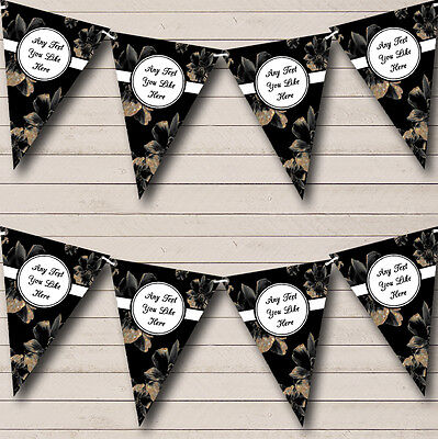 Black And Vintage Gold Floral Personalised Birthday Party Bunting Banner Garland - Black And Gold Garland