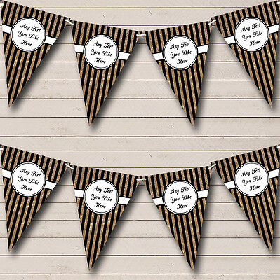 Vertical Black And Copper Gold Stripes Birthday Party Bunting Banner (Vertical Birthday Banners)