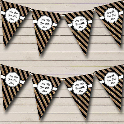 Black And Copper Gold Stripes Personalised Birthday Party Bunting Banner Garland - Black And Gold Garland