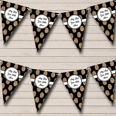 Black And Glitter Gold Spots Personalised Birthday Party Bunting Banner Garland - Black And Gold Garland