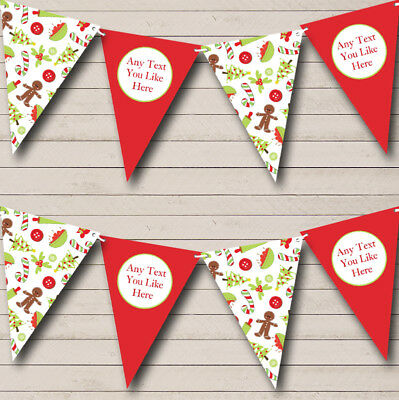 Party Banner Bunting Gingerbread Men Personalised Christmas Decoration (Christmas Party Banner)
