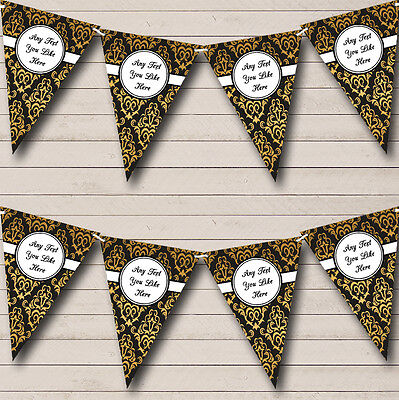 Black And Gold Vintage Damask Personalised Birthday Party Bunting Banner Garland - Black And Gold Garland