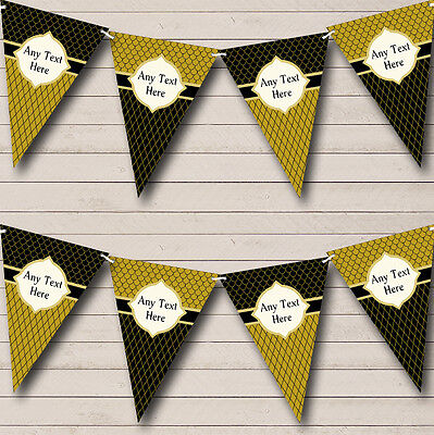 Black And Dark Gold Elegant Personalised Birthday Party Bunting Banner Garland - Black And Gold Garland