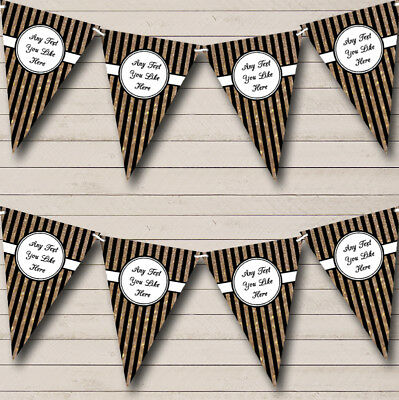 Party Banner Bunting Vertical Black And Copper Gold Stripes Birthday (Vertical Birthday Banners)