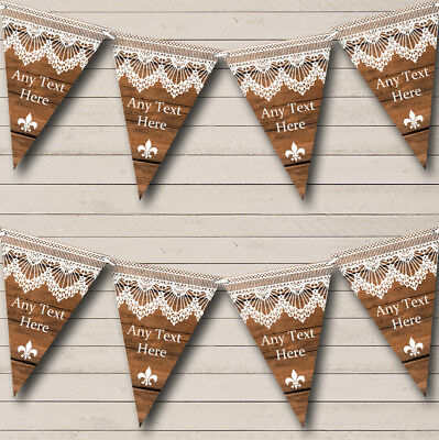 Rustic Wood & Lace Personalized Christmas Bunting Flag Banner