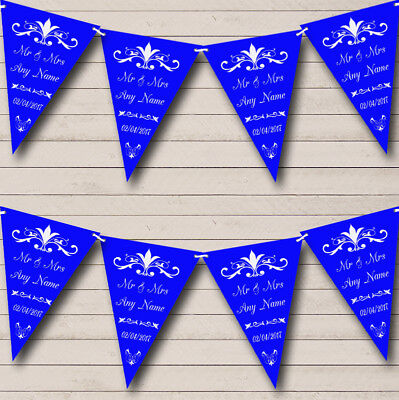 Personalised Anniversary Banners (RegalRoyal Blue Personalized Wedding Anniversary Party Bunting Flag)
