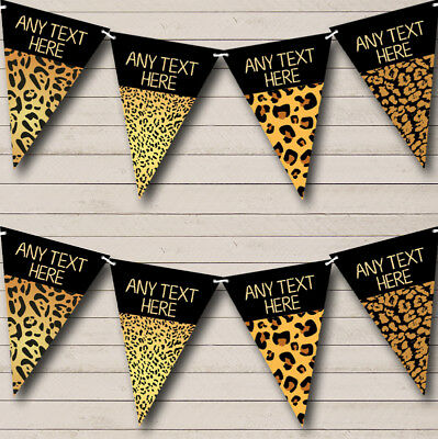 Animal Print Leopard Cheetah Personalized Birthday Party Bunting Banner (Leopard Print Banner)
