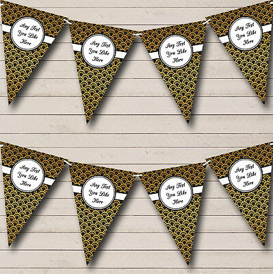 Black And Gold Personalised Birthday Party Bunting Banner Garland - Black And Gold Garland