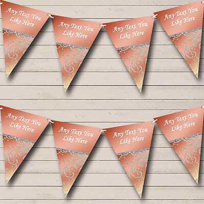 Stunning Coral Pink And Silver Wedding Venue or Reception Bunting