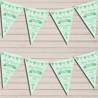 nner Christening Day Personalised Christening Bunting (Green Banner)