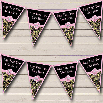 Leopard Print Pale Pink Bow Personalised Birthday Party Bunting Banner Garland](Leopard Birthday Banner)