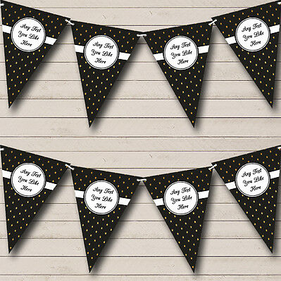Black And Gold Polkadot Personalised Retirement Party Bunting Banner Garland - Black And Gold Garland