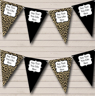 Leopard Print & Black Personalized Birthday Party Bunting Flag Banner (Leopard Print Banner)