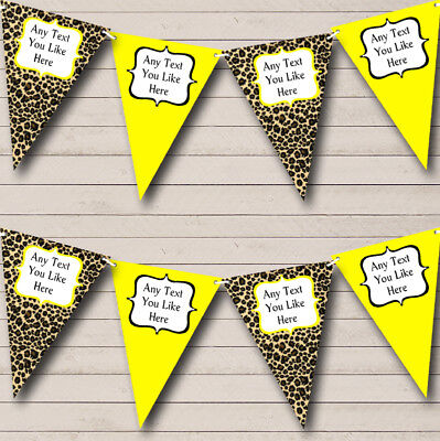 Party Banner Bunting Leopard Print And Yellow Personalised Birthday](Leopard Birthday Banner)