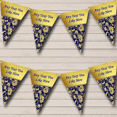 Navy Blue And Regal Gold Damask Wedding Venue or Reception Bunting Banner (Navy Blue And Gold Wedding)
