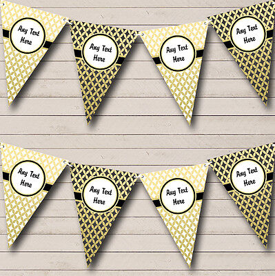 White Black And Gold Personalised Engagement Party Bunting Banner Garland - Black And Gold Garland