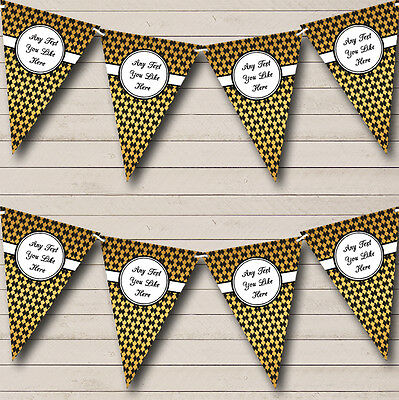 Black And Gold Pattern Personalised Christmas Party Bunting Banner Garland - Black And Gold Garland