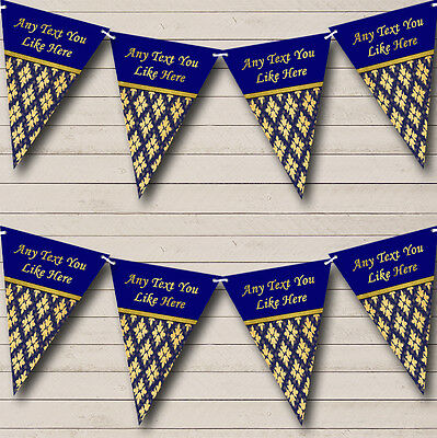 Pretty Navy Blue And Gold Vintage Wedding Anniversary Party Bunting Banner (Navy Blue And Gold Wedding)