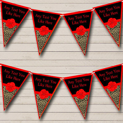 Leopard Print Red Bow Personalized Birthday Party Bunting Flag Banner (Leopard Print Banner)
