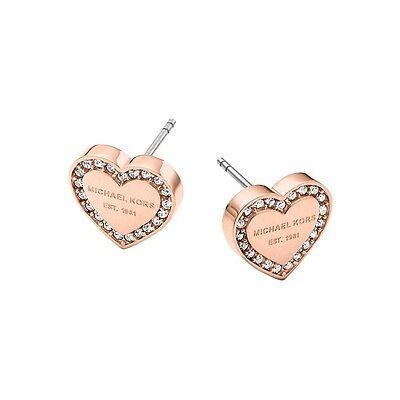 Michael Kors Pave Rose Gold Tone Logo Heart Charm Stud Earrings